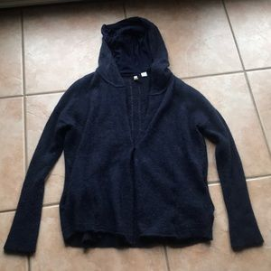 Anthro + Moth Navy Hooded Alpaca Cardigan Medium